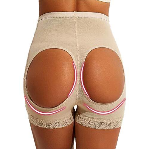 Biddtle Damen Miederslip Butt Lifter Figurformender Shapewear Push Up Enhancer Bauch Weg Höhe Taille Miederhose Unterwäsche,Beige,XL - 4