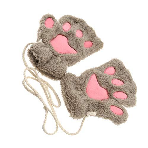 guanti gatto OTOTEC Donne Ragazza Gatto Artiglio Zampa Inverno Morbido Peluche Mezze Dita Guanti Senza Dita Cachi