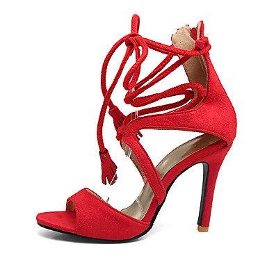 LvYuan Da donna-Sandali-Matrimonio Formale Serata e festa-Club Shoes Cinturino alla caviglia-A stiletto-Felpato-Nero Rosso Tessuto almond almond