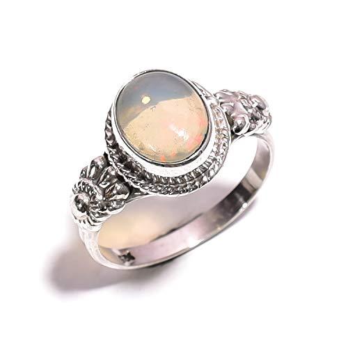 Mughal Gems & Jewellery Ring aus 925er Sterlingsilber, natürlicher äthiopischer Opal, feiner Schmuck für Damen, Größe 7 (ZR-686)