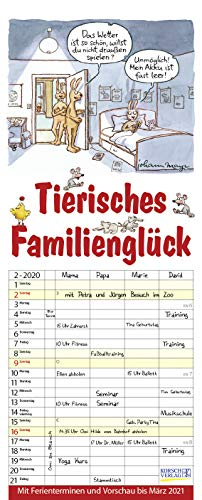 Tierisches Familienglück 2020: Familienplaner - 4 große Spalten mit viel Platz. Familienkalender mit Tier-Comics, Ferienterminen und Vorschau bis März 2021. 19 x 47 cm.