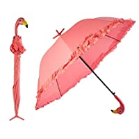 PINK FRILLY FLAMINGO UMBRELLA