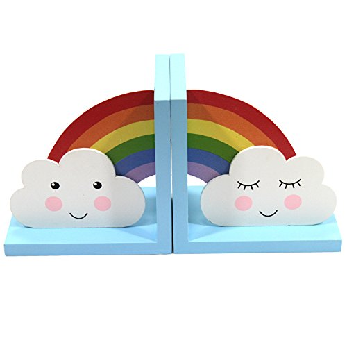 Just Contempo Kids Wooden Rainbow Clouds Bookends Decoration, Multi