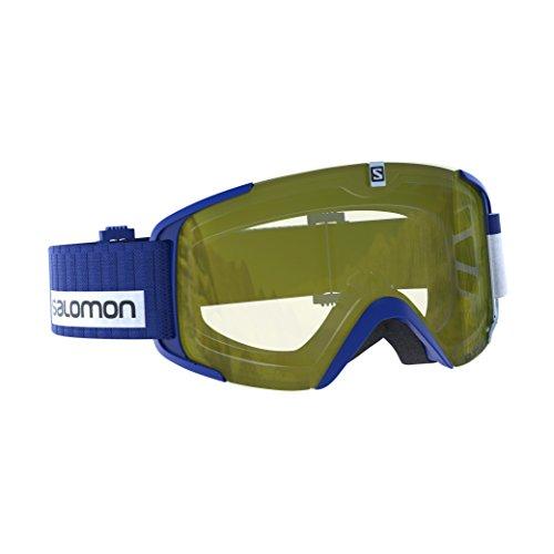Salomon, maschera da sci unisex, tempo nuvoloso, visiera giallo chiaro con effetto flash (intercambiabile), sistema airflow, xview access, blu, l39903700