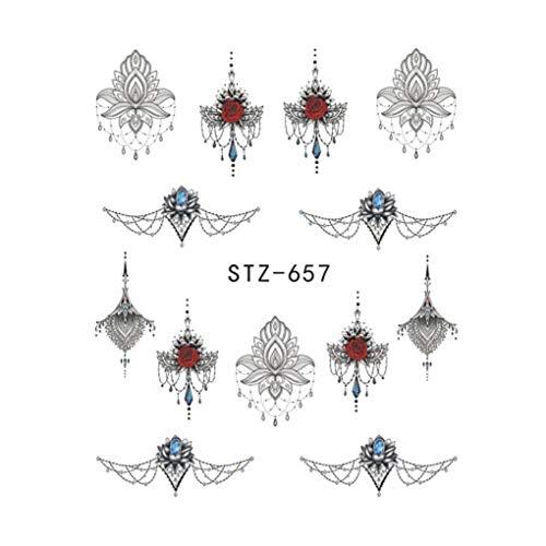 (Lidahaotin Einfache Blumen-Maniküre-Nagel-Kunst-Aufkleber-Anhänger DIY Nagel-Aufkleber Wraps Abstrakte Skizze Blatt Tatoos # 3)