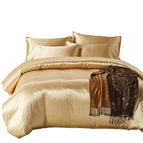 Seiden-satin-bettwäsche (Lanqinglv Satin Bettwäsche Set 135x200 Gold Simulation Seide 2 Teilig Modern Bettbezug Mit Kissenbezug 50x75cm)