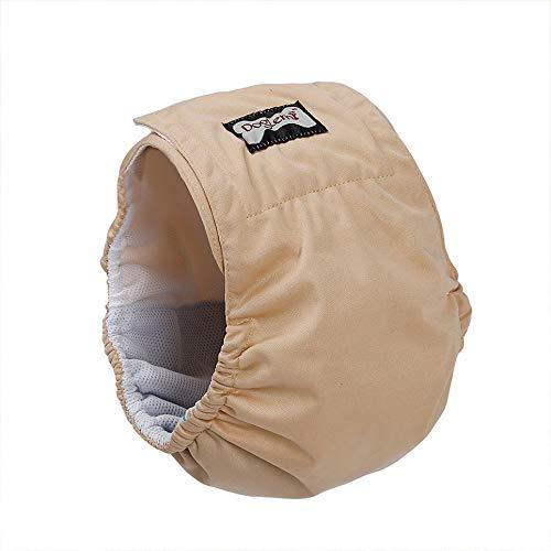 Wenjie Männlicher Hund Bauchband Medium Large Dog-Unterwäsche-Windel mit Super Absorbent Pad wasserdichte Außen Shell Wrap Belly - beige XS