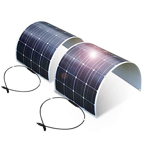 2PC DOKIO Pannello Solare Fotovoltaico Monocristallino 100W 12V Flessibile Portatile Impermeabile per Giardino Camper Roulotte Tetto RV Barca Auto Rimorchio Cabina