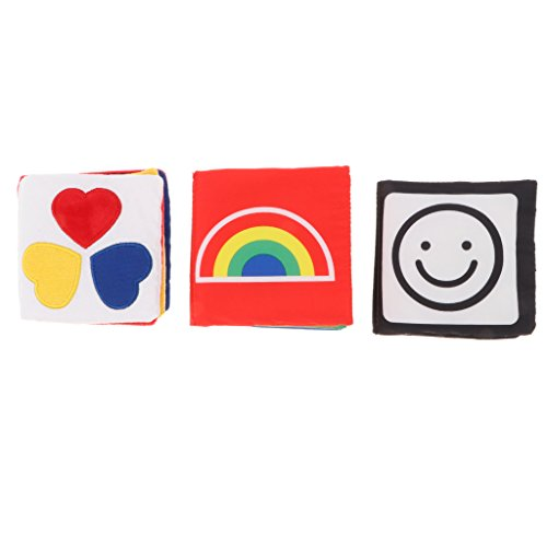 Homyl 3pcs Juguete Montessori Infantil Libro de Tela para Desarrollo Visual de Bebés de Primera Infancia