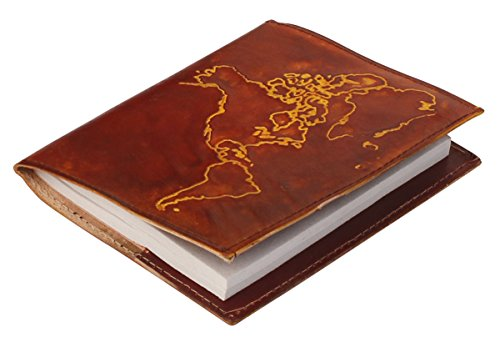 Escritura Diario–mejor comprar Deals–PREMIUM CALIDAD mapa del mundo diario de piel auténtica/personal portátil en color marrón–en relieve de mapa del mundo