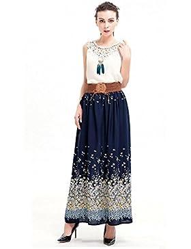 YYHSO Vestito pieghettato della stampa delle donne di modo delle donne  floreali Midi gonna cinghie elastiche 7296a4b9e33