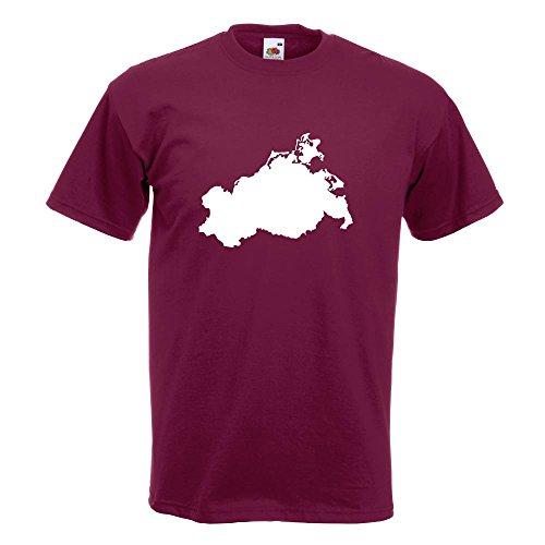 KIWISTAR - Mecklenburg - Vorpommern Silhouette T-Shirt in 15 verschiedenen Farben - Herren Funshirt bedruckt Design Sprüche Spruch Motive Oberteil Baumwolle Print Größe S M L XL XXL Burgund