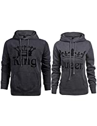 74e0b21d1 Stephaee Couple Hoodies King Queen Matching Couple Crown Pullover Hoodie  Sweatshirts