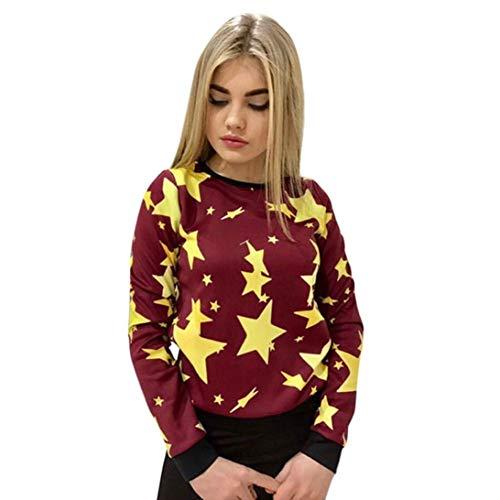 Kapuzenpullover Damen,Shopaholic0709 Frauen Langarm Hoodies Sweatshirt Pullover Tops Bedruckter Langarm-Pullover für Damen Stars Casual Sweatshirt Pullover