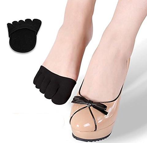 ANGTUO Femmes avant-pied chaussettes demi invisible yoga gymnastique chaussettes antidérapante cinq doigts coton-Black&couleur de la peau