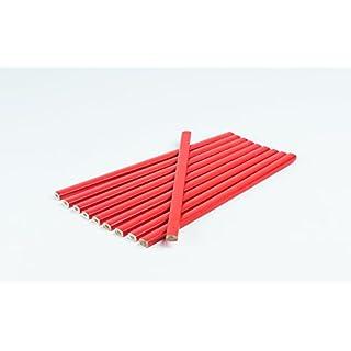10 Stück Zimmermannsbleistift I Rot I oval I 250 mm I Zimmermann-Bleistift I Strichbreiten von 1 – 2 mm I Bau - Bleistifte I Maurerbleistifte I Sparpack
