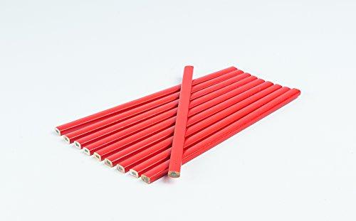 10 Stück Zimmermannsbleistift I Rot I oval I 250 mm I Zimmermann-Bleistift I Strichbreiten von 1...
