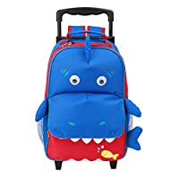 Yodo Convertible Playful 3-Way Childrens Suitcase or Little Kids Trolley Bag, Large Front Quick Access Pouch for Snacks or Knickknacks, for Boys and Girls Age 3+, Shark