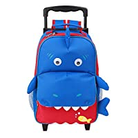 Yodo Convertible Playful 3-Way Little Kids Rolling Luggage or Toddler Backpack with Wheels, Large Front Quick Access Pouch for Snacks or Knickknacks, Little Suitcase for Boys and Girls Age 3+, Shark