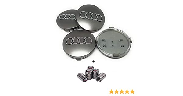 IGGY WHEEL COVER Compatible Silver 60mm A3 A4 A6 S4 RS3 S Studs Caps Alloy Wheels