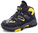 Botas de Montaña Niños Zapatos Nieve Invierno Botas de Senderismo Zapatillas Altas,Amarillo 34