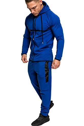 Amaci&Sons Herren Kontrast Sportanzug Jogginganzug Trainingsanzug Sporthose+Hoodie 1019 Royalblau M