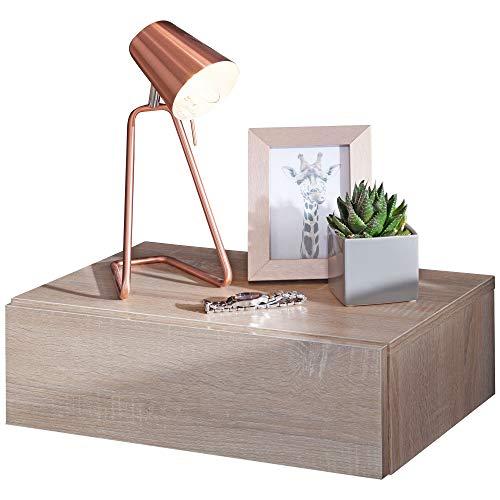 FineBuy Nachtkonsole Night für Wandmontage 46x15x30cm Sonoma Nachttisch Holz | Wandregal mit Schublade | Nachtschrank Wandboard für Boxspringbett schwebend | Wandkonsole Nachtkästchen hängend