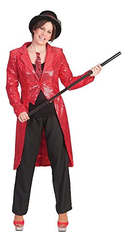 Pailletten Frack für Damen Rot Gr. 36 38 zum Show Kostüm für Karneval Faschingoder Mottoparty (Magier Und Showgirl Kostüm)