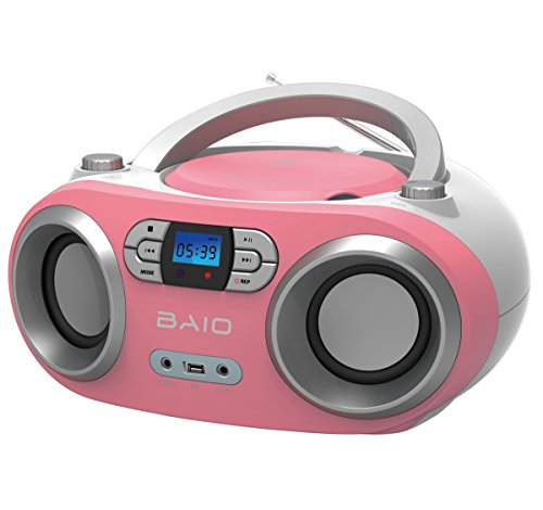OUTMARK BAIO TRAGBARER CD-Radio-Bluetooth-Player | USB | AUX-IN | MP3 | Fernbedienung | LCD-Display Blaue Beleuchtung | FM-Radio | KOPFHÖRERANSCHLUSS | 2 x 1,5W RMS | Boombox | (PINK) - Cd-player Fernbedienung