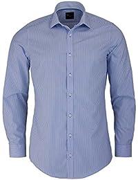 Venti Body Fit Hemd Langarm New Kent Kragen Streifen Hellblau