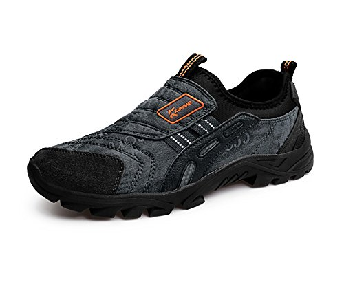 Outdoor Hiking Trainers Slip on Sneakers Low-top Running Sport Shoes Old Men Casual Loafers Black Brown Green Grey 39-44 Grey 42