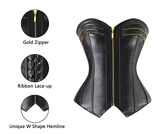 Charmian Women's Sexy Punk Gothic Faux Leather Zipper Overbust Corset Bustier Nero