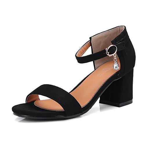 d83ea5c5b47 OALEEN Sandales Bout Ouvert Femme Talon Hauts Bloc Bride Cheville Suède  Strass Chaussures Soirée Noire 41