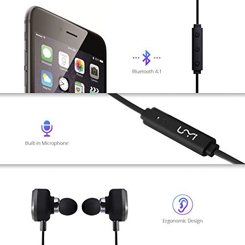 UMIDIGI Bluetooth Kopfhörer, wireless Kopfhörer Stereo In Ear Ohrhörer mit Magnet, Bluetooth 4.1, 8-Stunden-Spielzeit, IPX6 Spritzwasserfest, Kabellose Headset mit Mikrofon für iPhone iPad Samsung Galaxy Note und Android Handy - 5