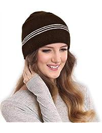 DRUNKEN Women's Winter Cap Daily Warm Knit Beanie Cap with Lining Woollen Cap Brown Free Size