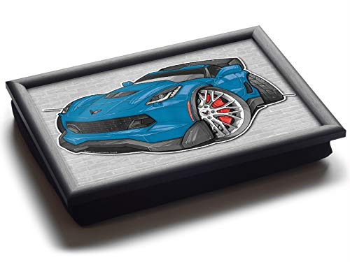 681179ba1d39d Koolart Cartoon Car Chevrolet Corvette C7 Deluxe Bean Bag Lap Tray azul