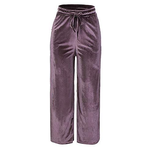 XNBZW Lange Hose Damen Gold Velvet Pants Lose Weite Hosen Weite Freizeithosen Lose Weites Bein Hose Elastische Taille Haremshose Pluderhose Ballonhose(Rosa,2XL)