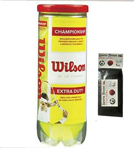 Wilson Championship Extra Duty Lawn Tennis Balls (Pack of 3) AND FREE SPORTSHOUSE WRIST BAND  available at amazon for Rs.360