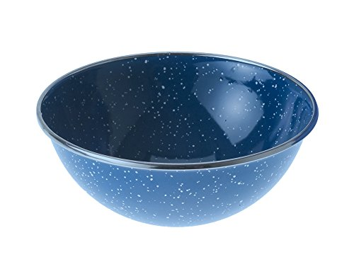 GSI Outdoors 32014 Mixing Bowl Stainless Rim 5.75 inch, Blue Blue Speckled-enamelware