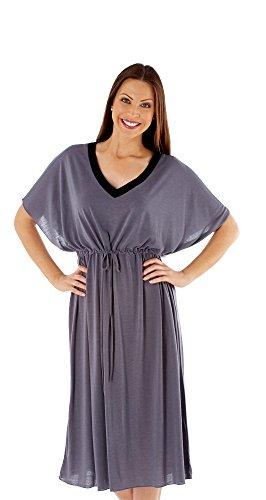 i-smalls Ltd -  Camicia da notte  - Collo a V  - Maniche corte - Donna Grigio