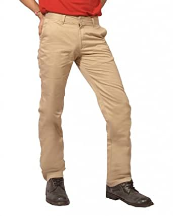 Louppee Men's Cotton Straight Fit Trousers ,Beige (30)