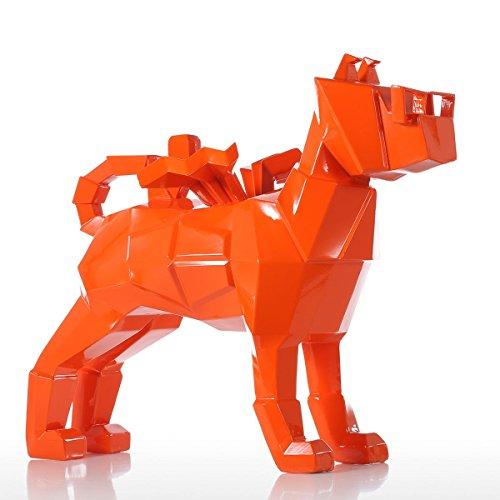 Tooarts Sculpture Animaux - Chien | Sculpture Moderne | Sculpture en résine | Sculpture Figurine | Statue Décoration | pour Salon et Bureau | Orange
