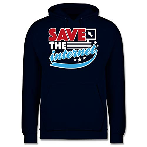 Statement Shirts - Save The Internet - 4XL - Navy Blau - JH001 - Herren Hoodie