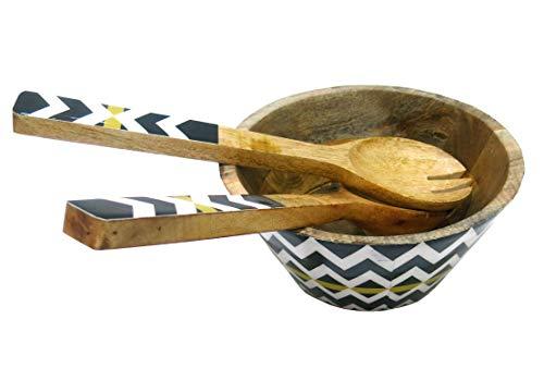 Holz-Servierschüssel-Set mit 2 Besteckn, bunt, dekoratives Mangoholz-Set für Obst, Salat, Pasta und Gemüse, 20,3 cm Durchmesser x 10,2 cm Höhe M Schwarz