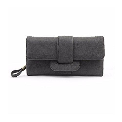 Portefeuille femme,Charminer moyenne sac à main 5,5 pouces smartphone sac à main de la capacité, à la mode femme portefeuille /élégance long portefeuille noir