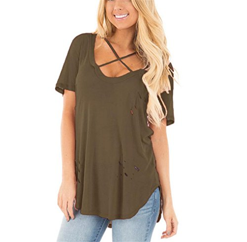 PU&PU Frauen Casual / Daily Loose Baggy T-Shirt Rundhals Hollow Out Criss Cross Top Solid Farbe Brown