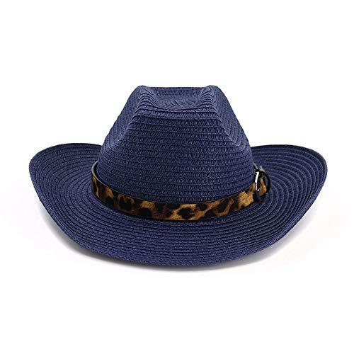 HÖHERE MÄNNER Fashion Classic Western Cowboyhut Sonnenhut for Männer Cowgirl Sommer Hüte for Frauen Lady Strohhut Beach Cap (Farbe : Navy Blue, Größe : - Womens Navy Kostüm