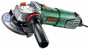 Bosch Meuleuse angulaire compacte PWS 1000-125 CE de 2,1 kg, à diamètre de 125 mm, avec coffret, capot de protection et poignée anti-vibration 06033A2800