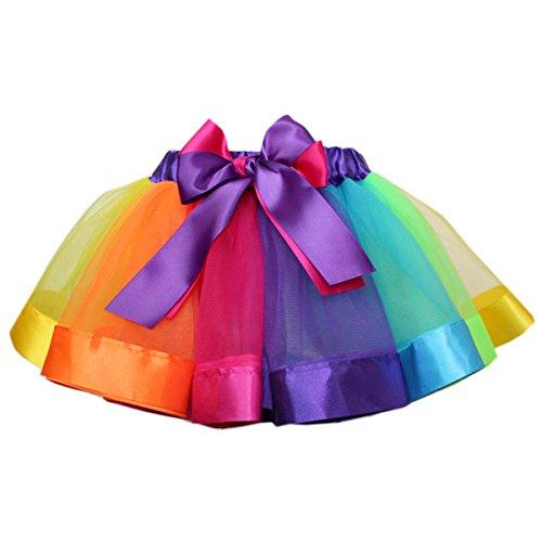 Butterme Mädchen geschichteten Regenbogen Tutu Rock kurze Vintage Petticoat Rock Ballett Bubble...