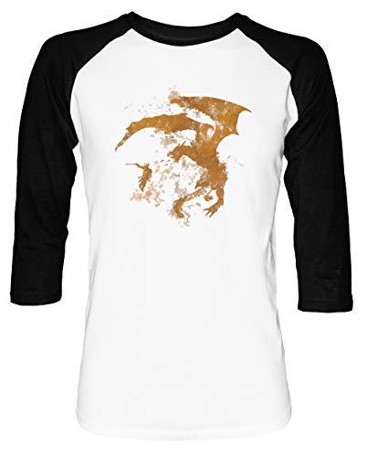 Drachenkampf-Cooltexture Herren Damen Unisex Baseball T-Shirt Weiß Schwarz 2/3 Ärmel Women's Men's Unisex Größe S Men's White T-Shirt Small Size S - 360 Baseball-spiele, Xbox